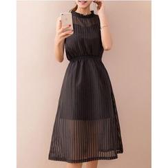 Dowisi - Set: Frill Collar Sleeveless Midi Dress + Slipdress