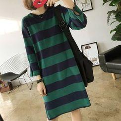 YASOO - Striped 3/4-Sleeve T-Shirt Dress