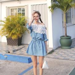 Cherryville - Lace Neckline Drawcord Tunic