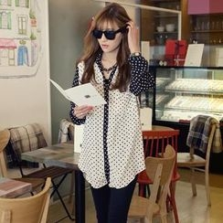 REDOPIN - Color-Block Polka-Dot Shirt