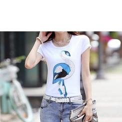 Zyote - Short-Sleeve Rhinestone Print T-Shirt