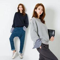 FASHION DIVA - Round-Neck Stripe-Cuff Sweatshirt