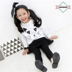 nanakids - Girls Set: Cat Face Top + Inset Skirt Leggings