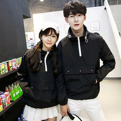 Tabula Rasa - Couple Matching Half-Zip Hooded Windbreaker