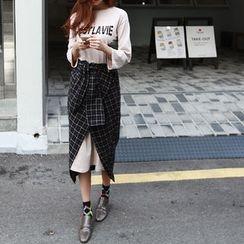NIPONJJUYA - Set: Lettering T-Shirt Dress + Plaid Long Wrap Skirt