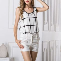 LIVA GIRL - Check Chiffon Tank Top