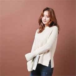 Styleberry - Raglan-Sleeve Pointelle-Knit Sweater