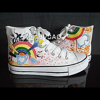 HVBAO - 'Rainbow Power' High-Top Canvas Sneakers