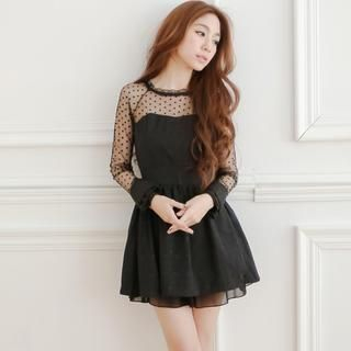 Tokyo Fashion - Long-Sleeved Tulle Panel Dress