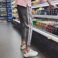 JUN.LEE - Contrast Trim Slim Fit Pants