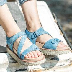 MIAOLV - Velcro Platform Sandals