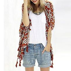 Sunset Hours - Tassel Trim Patterned Light Jacket