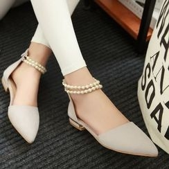 Pretty in Boots - Pointed Ankle Strap Flats
