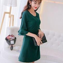 Nyssa - Ruffled-Cuff A-Line Dress