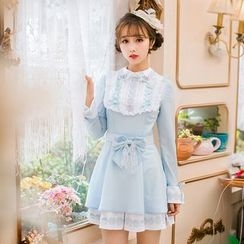 Candy Rain - Long-Sleeve Ruffle Trim A-line Dress