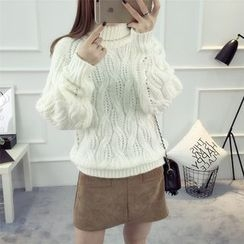 Knitemps - Turtleneck Cable Knit Sweater