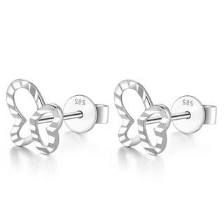 MaBelle - 14K Italian White Gold Open Butterfly With Diamond Cut Stud Post Earrings, Women Girl Jewelry in Gift Box