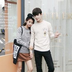 Simpair - Couple Matching Embroidered Melange Sweater