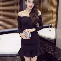 Sherbo - Long-Sleeve Off-Shoulder Sheath Dress