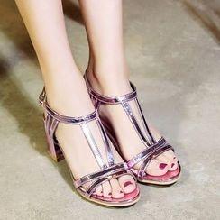 Cinnabelle - Metallic Block Heel Sandals