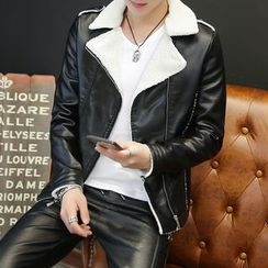 EVAMORE - Faux Leather Biker Jacket
