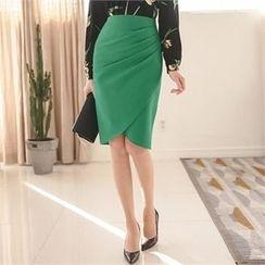 ode' - Shirred-Side Pencil Skirt