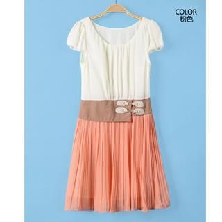 9mg - Color-Block Pleated Dress
