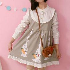 Moricode - 小兔印花仿兩件連衣裙