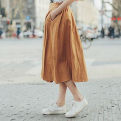 11.STREET - Linen A-Line Midi Skirt