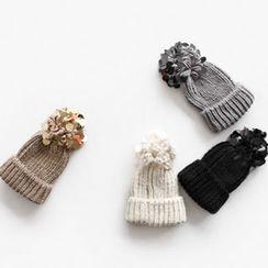 NIPONJJUYA - Sequined Pompom Knit Beanie