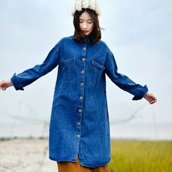 Yammi - Tie-Waist Denim Shirtdress