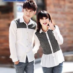 Igsoo - Couple Matching Panel Chiffon Shirt
