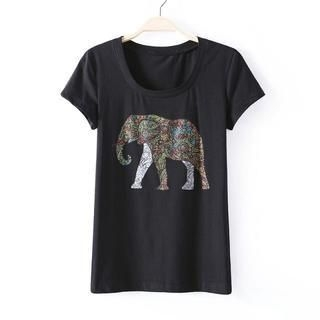 JVL - Short-Sleeve Elephant-Print T-Shirt