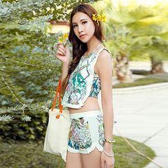 Sewwi - Set: Floral Print Bikini + Tank Top