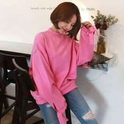 Seoul Fashion - Mock-Neck Tie-Sleeve Sweatshirt