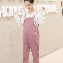 Viana Smile - Maternity Plain Corduroy Pinafore Jumpsuit
