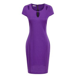 LIVA GIRL - Cap-Sleeve Cut Out Sheath Dress