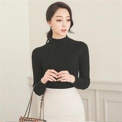 ode' - Mock-Neck Rib-Knit Top