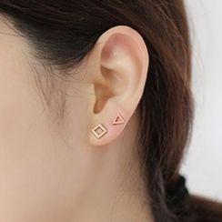 Cheermo - Set of 4: Faux Pearl Geometric Earrings