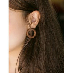FROMBEGINNING - Wooden Circle Earrings