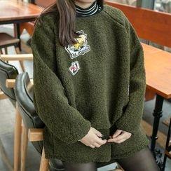 Cattie - 套裝: 補丁刺繡抓毛套衫 + 短褲