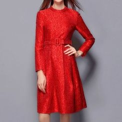 Merald - Long-Sleeve Jacquard A-Line Dress with Belt