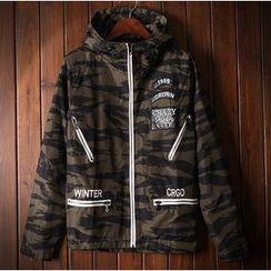 Bigboy - Camouflage Letter Hooded Jacket