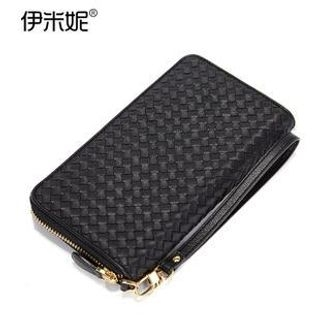 Emini House - Genuine Leather Zip Around Woven Wallet