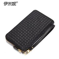 Emini House - Genuine Leather Zip Around Woven Wallet