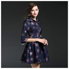 Elabo - 3/4-Sleeve Embroidered Tie Waist Dress
