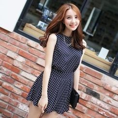 BRONCY - Set: Sleeveless Polka-Dot Top + Polka-Dot A-Line Skirt