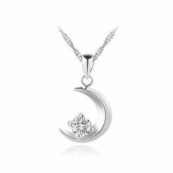 BELEC - 925 Sterling Silver Moon Pendant with White Cubic Zircon and Necklace - 40cm