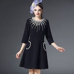 Ozipan - Beaded Dotted A-Line Dress