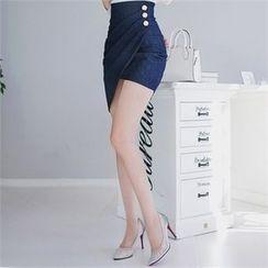 Babi n Pumkin - High-Waist Asymmetric-Hem Skirt